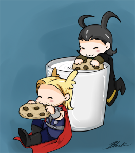 mini_thor_and_loki___milk_and_cookies_by_caycowa-d67xzwd