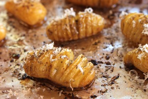 Truffled Hasselback mini potatoes